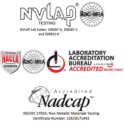 NVLAP, LAB, NADCAP logos